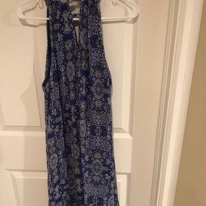 Blue Patterned Handkerchief Midi Dress - L